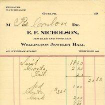 Image of Statement from E.F. Nicholson, Jeweler & Optician