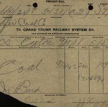 Image of Freight Bill from Grand Trunk Railway, 1918