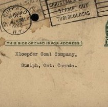 Image of Advertising Postcard to Kloepfer Coal Co., 1922