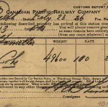 Image of Delivery Notice from C.P.R., 1926