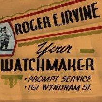 Image of Advertising Poster, Roger Irvine, Watchmaker