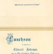 Image of .1 Folder for Program for Luncheon in Honour of Edward Johnson