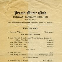 Image of Presto Music Club Concert Program, January 11, 1921