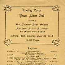 Image of Closing Recital, Presto Music Club, April 21, 1914