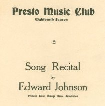 Image of Edward Johnson Recital 1920