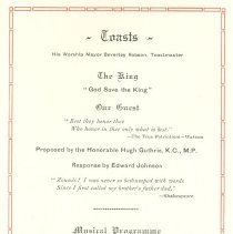 Image of Banquet Program Toasts