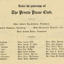 "Image of ""Under the Patronage of the Presto Piano Club,"" p.1"