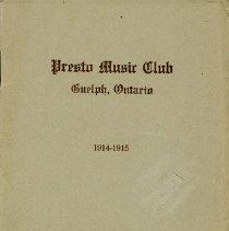 Image of Program, Presto Music Club, 1914-1915