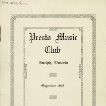 Image of Annual Program, Presto Music Club, 1916-1917