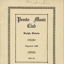 Image of Presto Music Club Annual Program, 1917-1918