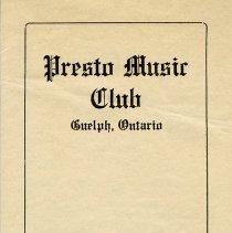 Image of Presto Music Club Annual Program, 1922-1923