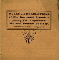Image of Rules & Regulations of Raymond Manufacturing Co. Employees, c.1895