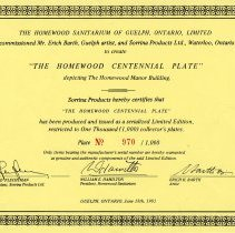 "Image of Certificate of Authenticity for ""The Homewood Centennial Plate,"" 1983"