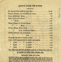 Image of Annual Rates For Water, back of invoice