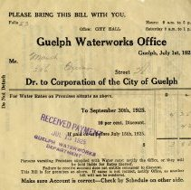 Image of Guelph Water Works Invoice to Mr. Marsh, July 1, 1925