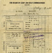 Image of Board of Light & Heat Commissioners' Bill to S. Marsh, 1925