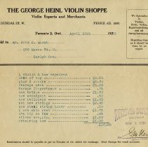 Image of 1930 Statement for Violin Repairs