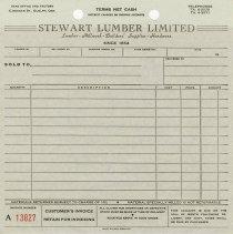 Image of Blank Triplicate Order Form, Stewart Lumber Limited