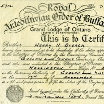 Image of Certificate of the Royal Antediluvian Order of Buffaloes, 1959