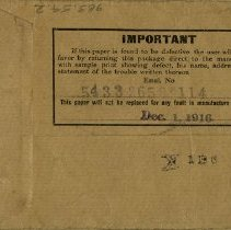 Image of Back of Envelope, Dated Dec. 1, 1916