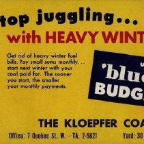 Image of Ink Blotter Advertising Kloepfer Coal Company