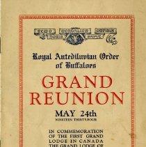 Image of Program, R.A.O.B. Grand Reunion, May 24, 1934