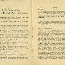Image of Instructions for the Primo or Second Degree Ceremony; Lecture, pp.2-3