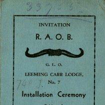 Image of Invitation to Installation Ceremony at R.A.O.B. Hall, Hamilton, 1935