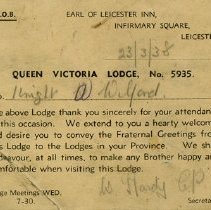 Image of Attendance Card, R.A.O.B. Queen Victoria Lodge, Leicester, 1938
