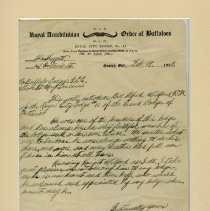 Image of R.A.O.B. Royal City Lodge No.11, Letter of Introduction