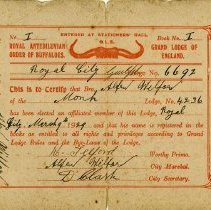 Image of R.A.O.B. Membership Card of Alfred Wilford, 1929