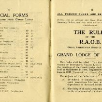 Image of Official Forms; The Rules of the R.A.O.B. Grand Lodge of England, pp.10-11