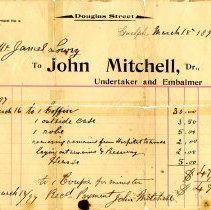 Image of Invoice from John Mitchell, Undertaker, 1897