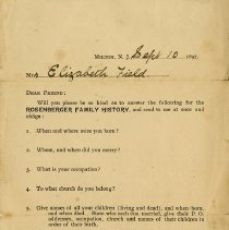 Image of Family History Request to Mrs. Elizabeth Field, 1897