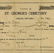 Image of Receipt from St. George's Cemetery for Interment of David Field, 1911