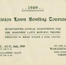 Image of Dominion Lawn Bowling Tournament Program, 1909, p.1