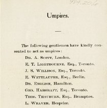 Image of Umpires; Members of Tournament Committee, p.4