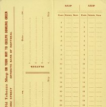 Image of Score Card and Record of Games