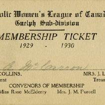 Image of Catholic Women's League of Canada Membership Card, 1929-30