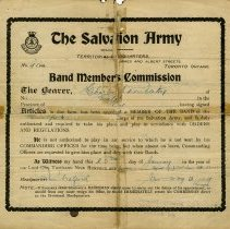 Image of Salvation Army Band Member's Commission, 1907