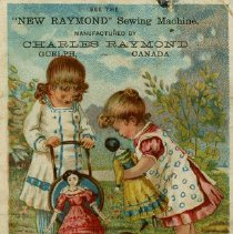 "Image of Advertising Card, ""New Raymond"" Sewing Machine"