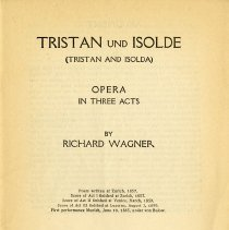 "Image of Program, ""Tristan und Isolde,"" by Richard Wagner, p.1"