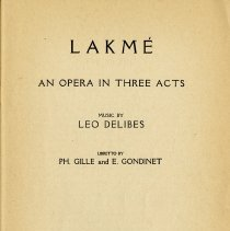 "Image of ""Lakme, An Opera in Three Acts,"" p.1"