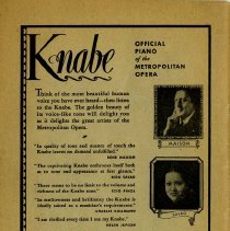 Image of Advertisement for Knabe Pianos, back cover