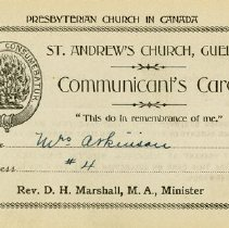 Image of St. Andrew's Church Communicant's Card