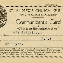 Image of Communion Card, St. Andrew's Church