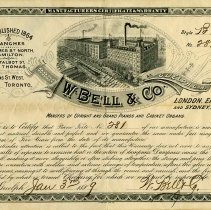 Image of W. Bell & Co. Warranty, 1889