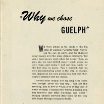 """Image of """"Why we chose Guelph,"""" page 1"""