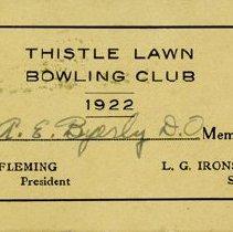 Image of Thistle Lawn Bowling Club Membership Card, 1922