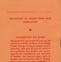 Image of The History of Guelph Road Race Association, Thanksgiving Day Races